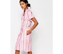 Plastic Bag Kleid mit pastellfarbenen Streifen Mehrfarbig