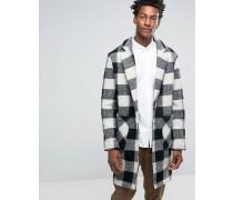 Schwarz und weiß karierter Mantel aus Wollmischung Schwarz