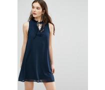 Ärmelloses Kleid mit geschnürtem Ausschnitt Marineblau