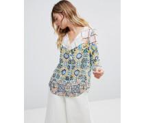 Hemd mit Kimonoärmeln und verschiedenen Mustern Mehrfarbig