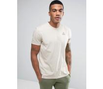 Beiges T-Shirt mit dreifarbigen Ärmeln und kleinem Logo 1711063 Beige