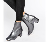 Pebble Ankle-Boots in Metallic-Zinngrau mit Blockabsatz Silber