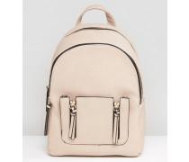 Mini-Rucksack mit Reißverschluss-Tasche Steingrau