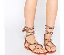 FIRST TIME Flache Sandalen mit Schnürung Mehrfarbig