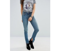 Jeans mit niedrigem Bund und Seitenschlitz Blau
