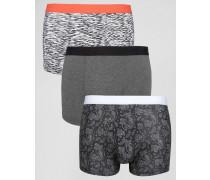 Unterhosen in Schwarz mit Paisley-Muster, 3er-Pack Schwarz