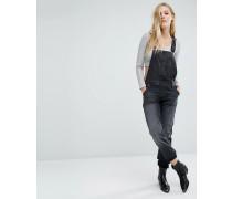 Gerade geschnittene Jeans-Latzhose Schwarz