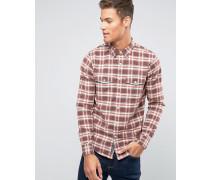 Oxford-Hemd mit Button-Down-Kragen mit Burg-Karomuster Rot