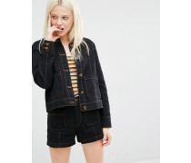 Kastige Jeansjacke mit kontrastierender Ziernaht Schwarz