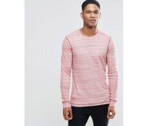 Langärmliges Shirt aus Strukturstoff in Burgunder, schmale Passform Rot