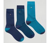Socken aus Modal-Baumwolle im 3er-Pack in Marineblau und Blaugrün Marineblau