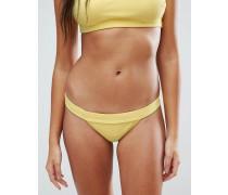 Mix-and-Match Geripptes brasilianisches Bikinihöschen mit tiefem Taillenbund Gelb