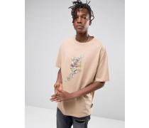 Oversize-T-Shirt mit Blumenmuster Steingrau