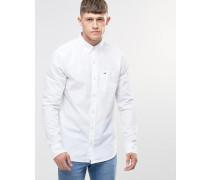 Weißes, schmales Popeline-Hemd Weiß