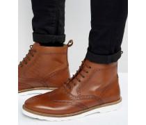 Budapester-Stiefel aus hellbraunem Leder mit weißer Sohle Bronze