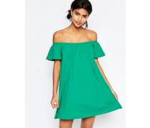 Schulterfreies Minikleid Grün