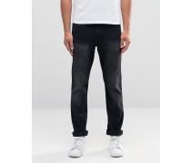 Schwarze anliegende Jeans Schwarz