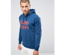 Scotch and Soda Kapuzenpullover mit Print Blau