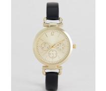 Goldene Uhr mit Glied-Detail Schwarz