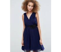 Crossover-Kleid mit Applikation Marineblau