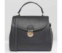 Einkaufstasche mit Schließdetail Schwarz