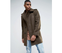 Mantel mit Gürtel aus Wollmischung Grün