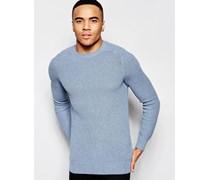 Gerippter Pullover in Hellblau Blau