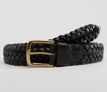 Geflochtener Ledergürtel in Schwarz Schwarz