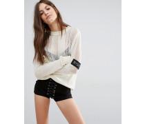 Distressed-Pullover mit seitlichem Logo Cremeweiß