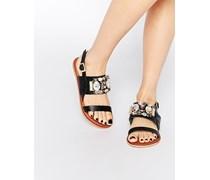 FLASH Flache, verzierte Sandalen in weiter Passform Schwarz