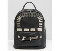 Mini-Rucksack mit Metallbeschlägen im Western-Stil Schwarz