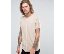 Lang geschnittenes T-Shirt mit Pigment-Waschung und ungesäumten Kanten in Beige Beige