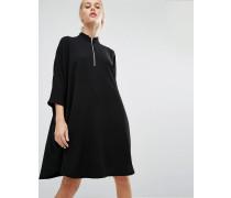 Hochgeschlossenes Kleid mit Reißverschluss Schwarz