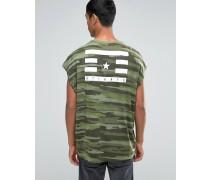 Super Oversize-T-Shirt mit Tarnmuster und Rücken-Print Grün