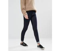 Enge Jeans mit aufgeschlagenem Saum Marineblau