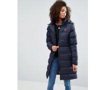 Wattierter Mantel mit Fellbesatz an der Kapuze Marineblau