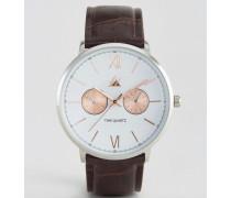 Uhr mit Armband in Kroko-Optik und Gehäuse aus verschiedenen Metallen Braun