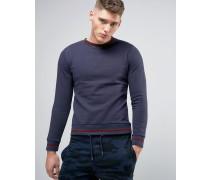 Sweatshirt mit kontrastierenden, gerippten Abschlüssen Marineblau
