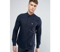 Marineblaues Oxford-Hemd mit Button-Down-Kragen in schmaler Passform Marineblau