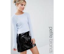 Kurzer Pullover mit Rippung Blau