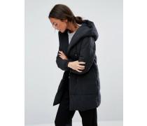 Wattierter Mantel in Wickeloptik Schwarz