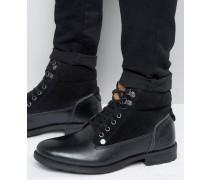 Geschnürte Stiefel aus schwarzem Leder Schwarz