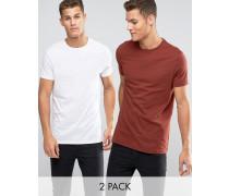 Lang geschnittene T-Shirts in Weiß/Rostrot im 2er-Set, 13% RABATT Mehrfarbig