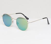 Sonnenbrille mit runden, verspiegelten Gläsern Gold