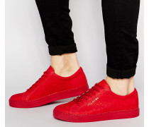 Sneakers aus Leder in Kroko-Optik Rot