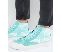 x Thrasher Hohe Sneaker mit durchgehendem Logodruck Grün