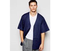 Oversize-Kimonojacke in Blau Schwarz