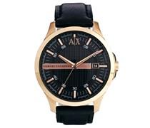 AX2129 Uhr mit schwarzem Lederarmband Braun