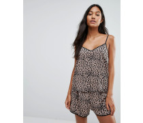 Träger-Schlafanzug mit Leopardenprint Mehrfarbig