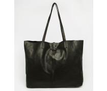 Ungefütterte Shopper-Tasche aus Leder mit Schnürung Schwarz